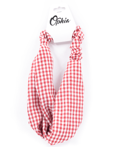 OPHIA | KNOTTED RED AND WHITE CHECK HEADBAND - Off Ya Tree