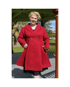 OPHIA | WINE RED FIT AND FLARE COAT - Off Ya Tree