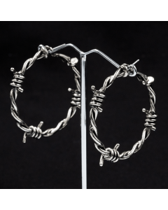 SWEET VENGEANCE | HOOPS SILVER BARBWIRE EARRINGS