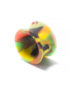 PUNKTURED | YLW/BLK/GRN/RED TIE DYE DOUBLE FLARED SILICONE PLUG