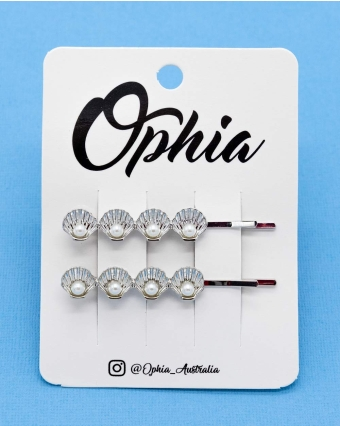 OPHIA | HAIR PIN SILVER SHELL WITH PEARLS - Off Ya Tree